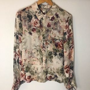 Haute Hippie silk sheer floral blouse Large
